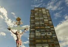 Jezus na krzyżu - salwowanie Zdjęcia Royalty Free