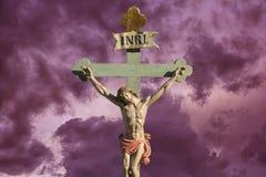 Jezus na krzyżu - salwowanie Zdjęcie Royalty Free