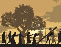Jezus Niesie Jego krzyż Zdjęcia Royalty Free