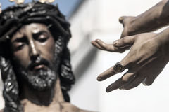 Jezus przed Pilate, Święty tydzień w Seville, bractwo San Benito Zdjęcia Stock