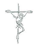 Jezus przy krzyżem royalty ilustracja