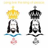 Jezus, serce i korona, chrześcijański symbol ilustracja wektor