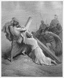 Jezus Spadać z Krzyżem ilustracja wektor