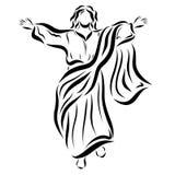 Jezus unosi się niebo i błogosławi ludzi royalty ilustracja