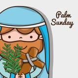 Jezus z katolik palmy i krzyża gałąź ilustracji