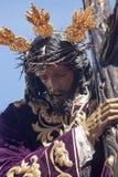 Jezus z krzyżem, Święty tydzień w Seville, bractwo San Roque Obrazy Stock