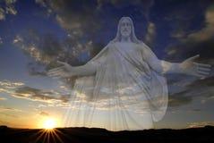 jezus zachodzącego słońca Obrazy Royalty Free