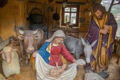 Jezusowa dziecka, Maria, Joseph i zwierząt Betlejem Bożenarodzeniowa postać, Zdjęcie Stock