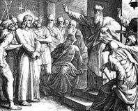 Jezusowa próba Przed Caiaphas fotografia royalty free