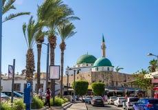 Jezzar巴夏清真寺在Akko,以色列 库存照片