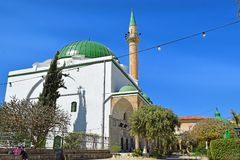 Al Jazzar Mosque in the old city of Acre, Israel. Jezzar Pasha Mosque, also known as the White Mosque in Acre, Israel stock images
