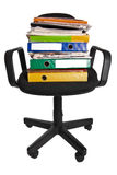 Jffice chair with document folders Royalty Free Stock Photography