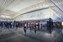 JFK Airport New York City. JFK-John F. Kennedy airport in New York City with the cityscape on the wall Stock Images