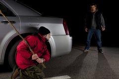 Jäger und Opfer Stockfoto
