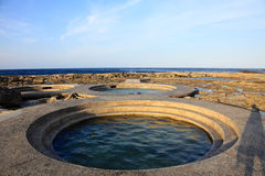 Jhaorih Hot Spring,Green Island,Taiwan. Jhaorih Hot Spring of international fame is a rare hot spring of seawater. Almost every visitor to Green Island comes stock photo