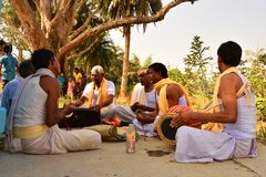 Jhargram, West Bengal, India - Hare Krishna group chants also called kirtan was performing in a village. Kirtan , group kirtan by royalty free stock image