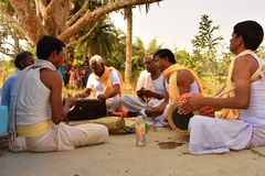 Jhargram, West Bengal, India - Hare Krishna group chants also called kirtan was performing in a village. Kirtan , group kirtan by royalty free stock images