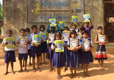 Jhargram , West Bengal, India - January 2, 2019: International Book Day were celebrated by the students of a primary school with stock photo