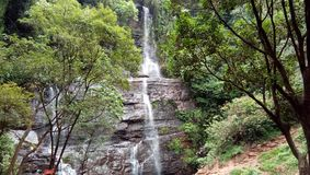 Jhari water falls path. Inam Dattathreya Peeta, Karnataka, India Royalty Free Stock Photo