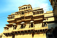 Jharoka,Patwon ki Haveli,Jaisalmer. Patwon ki haveli,jaisalmer,india is known for it's collection of havelis having intricate stone work on sandstone Royalty Free Stock Photo