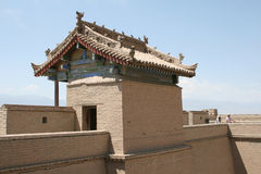 Jia Yu Guan古老中国长城堡垒 库存图片