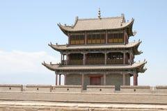 Великая Китайская Стена Jia Yu Guan западная, silk дорога Китай Стоковые Изображения RF
