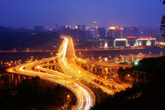 Jialing river bridge nightscape Stock Photo