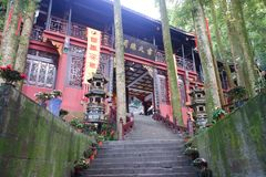 Jianfu slott i det Qingcheng berget royaltyfria foton