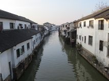Jiangnan Water Town, China. China`s jiangnan water town, white walls and gray tiles canal.Venice, China stock photo