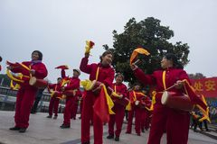 Nanjing wuding gate qinhuai river waist drum team. Jiangsu nanjing wuding gate park square, there is a group of enthusiasts, often carry on the waist inspiring Stock Photography
