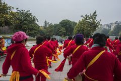 Nanjing wuding gate qinhuai river waist drum team. Jiangsu nanjing wuding gate park square, there is a group of enthusiasts, often carry on the waist inspiring Royalty Free Stock Images