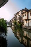 Jiangsu Wuxi Handlowej ulicy kanału Południowa Świątynna Antyczna strona domy Obrazy Royalty Free