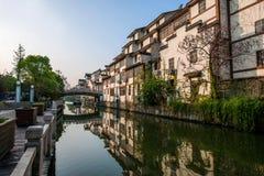 Jiangsu Wuxi Handlowej ulicy kanału Południowa Świątynna Antyczna strona domy Zdjęcia Royalty Free