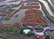 Jiangsu Yancheng: das Luftbildfotografie von 30 Million Tulpen in den Niederlanden berauscht Lizenzfreie Stockfotografie