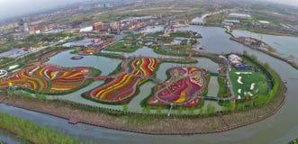 Jiangsu Yancheng: das Luftbildfotografie von 30 Million Tulpen in den Niederlanden berauscht Stockfotografie