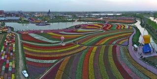 Jiangsu yancheng: de luchtfotografie van 30 miljoen tulpen in Nederland bedwelmt Royalty-vrije Stock Foto
