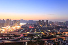 Jiangtou天桥黄昏 免版税图库摄影