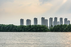 Jiangxinzhou Islet and Residential building Stock Image