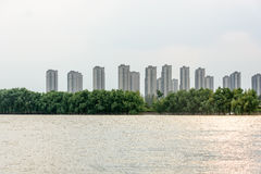 Jiangxinzhou Islet and Residential building Stock Photos
