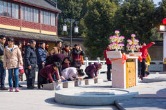 JIANGYIN, China in 2015 February 19: people burn incense at the first day of the Chinese new year to the temple to burn incense an Royalty Free Stock Photography