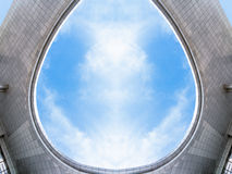 Jiangyin City Plaza building roof. The blue sky and white clouds of modern architecture Royalty Free Stock Photography