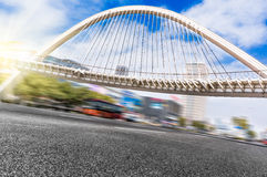 Jiangyin City Scenery. City Road high-speed vehicles and pedestrian overpass Royalty Free Stock Photography