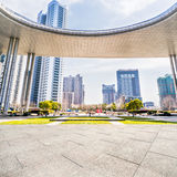 Jiangyin City Scenery. Square marble ground of modern architecture Royalty Free Stock Photography