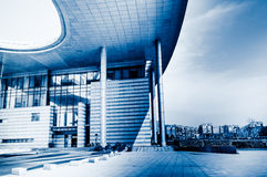 The Jiangyin Cultural Center. City of modern buildings decorated roof Royalty Free Stock Photo