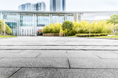 Jiangyin Cultural Center Plaza ground. Marble ground and building tree background Stock Photography