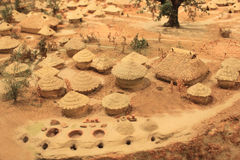 Jiangzhai Settlement site model. Yangshao Culture in Chinese history.The Jiangzhai site consisted of a residential area,pottery kilns,and burial grounds.Ariver Royalty Free Stock Photography
