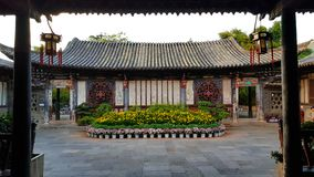 An inner courtyard in the typical Chinese noble residence of the Zhu`s Family, Jianshui, Yunnan, China stock photo