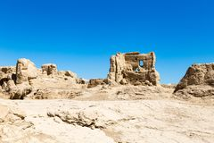 Jiaohe Ruins, Turpan, China. Ancient capital of the Jushi kingdom, it is more than 2000 years old royalty free stock image