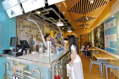 Jiaosu  fruit enzyme  beverage shop. Enzyme drinks, once popular in china Stock Image