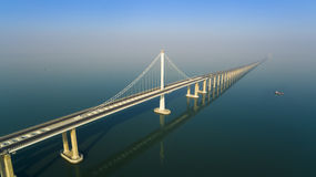 Jiaozhouwan bridge qingdao china. The jiaozhouwan bridge from qingdao to huangdao over sea in shandong China Stock Photography